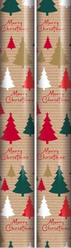 10m (2 x 5m) Modern Christmas Gift Wrapping Paper Roll - Brown Red Green Trees