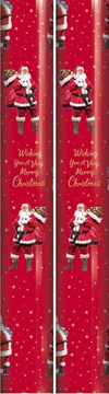 10m (2 x 5m) Christmas Gift Wrapping Paper - Red with Traditional Santa