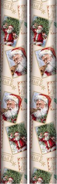 10m (2 x 5m) Traditional Christmas Gift Wrapping Paper - Santa in Squares