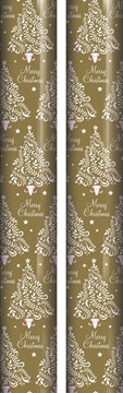 10m (2 x 5m) Christmas Gift Wrapping Paper - Gold with White Pink Trees