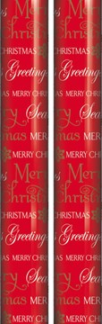 10m (2x5m Roll) Christmas Gift Wrapping Paper - Red with Season's Greetings