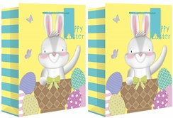 2 x Extra Large Happy Easter Gift Bags Bunnys Chicks Lamb decorated Eggs 18 x13""