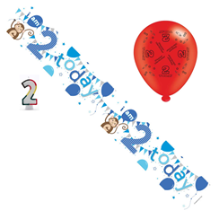 Age 2 Boy Birthday Party Pack - Banner, Balloons, Number Candle