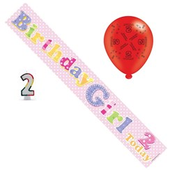 Age 2 Girl Birthday Party Pack - Banner, Balloons, Number Candle,