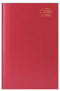 2020 A5 Week To View Casebound Hardback Appointment Diary with Times - Red