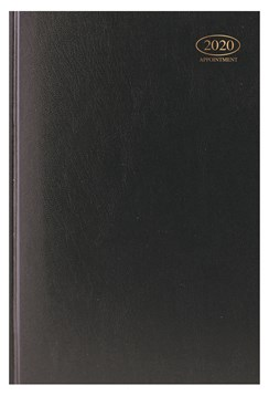 2020 A4 Week To View Casebound Hardback Appointment Diary with Times - Black