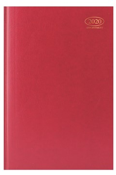 2020 A4 Week To View Casebound Hardback Appointment Diary with Times - Red