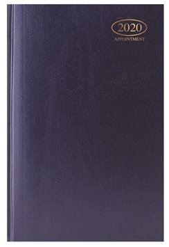 2020 A5 Page A Day Case bound Hardback Appointment Desk Diary with Times - Blue