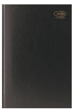 2020 A4 Page A Day Case bound Hardback Appointment Desk Diary with Times - Black