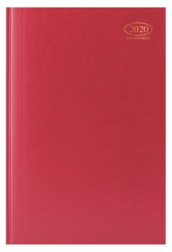2020 A4 Page A Day Case bound Hardback Appointment Desk Diary with Times - Red