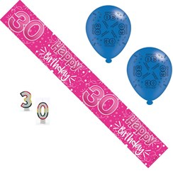 Age 30 Female Birthday Party Pack - 30th Banner, Balloons, Number Candles