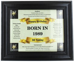 2020 30 Today Happy Birthday Print & Black Photo Frame - 1990 Was A Special Year