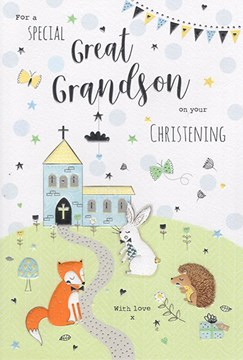 """ICG Great Grandson's Christening Day Card - Church and Wildlife Silver Foil 9x6"""""""
