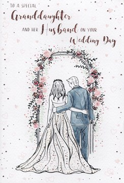 """ICG Granddaughter & Husband Wedding Day Card - Couple under Floral Arch 9"""" x 6"""""""