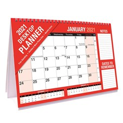 2021 One Month To View Spiral Desk Top Calendar Planner with Notes
