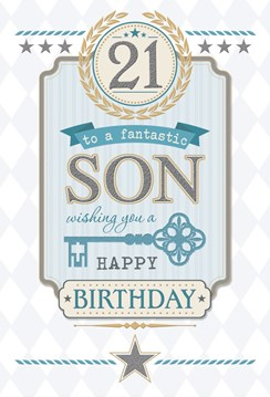 "Son 21st Birthday Card - 21 Today Grey Text, Blue Key & Gold Leaves 9.75"" x 6.5"""