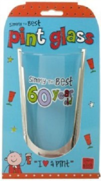 "Simply The Best 60 Year Old Male Beer Pint Glass 6.25"" - 60th Birthday Gift"
