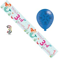 Age 3 Girl Birthday Party Pack - Banner, Balloons, Number Candle