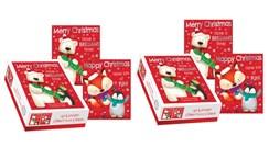 40 Cute Foiled Christmas Cards 2xBox 20 - 2 Designs - Polar Bear Penguin Fox