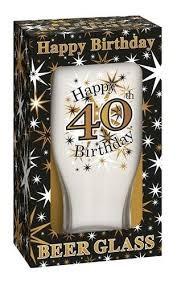 Happy Birthday 40 Celebration Beer Glass & Presentation Box - 40th Gift