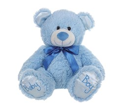 "10"" Blue Baby Boy Teddy Bear Soft Toy Plush Wearing Blue Ribbon"