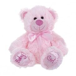 "10"" Pink Baby Girl Teddy Bear Soft Toy Plush Wearing Pink Ribbon"