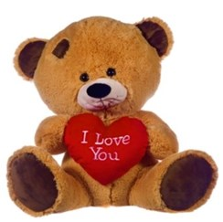 """21"""" Brown Patch Teddy Bear Soft Toy Plush Holding Big Red 'I Love You' Heart"""