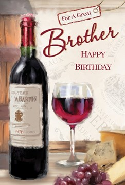 """Brother Birthday Card - Red Wine Bottle, Glass, Purple Grapes & Cheese 9"""" x 6"""""""