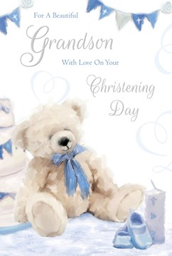 "Grandson's Christening Day Greetings Card - Teddy Bear & Blue Booties 9"" x 6"""