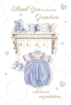 "Thank You For Baby Grandson Card - Blue Outfit, Teddy Bear & Tiny Hearts 9"" x 6"""
