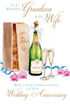 """Grandson & Wife Anniversary Card - Champagne, Flutes, Box & Pink Orchids 9"""" x 6"""""""