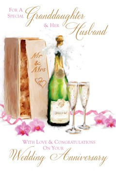 """Granddaughter & Husband Anniversary Card - Champagne & Dark Pink Orchids 9"""" x 6"""""""