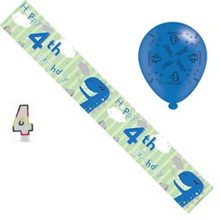 Age 4 Boy Birthday Party Pack - 4th Banner, Balloons, Number Candle