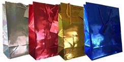 Set of 4 Large Holographic Gift Bags with Tags - Red, Silver, Gold, Blue