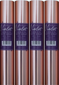 16m Foil Effect Gift Wrapping Paper 4x4m Roll's Cutting Guide Plain Rose Gold