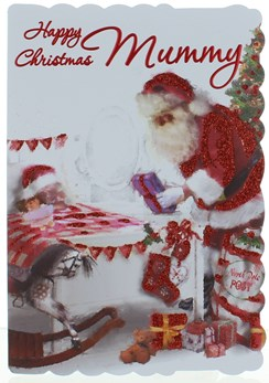"Mummy Christmas Card - Glitter Santa Delivering Gifts To Bed 7.5"" x 5.25"""