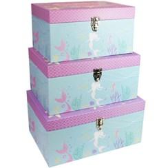 Set of 3 Mermaid Treasure Chest Toy Storage Box