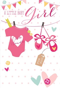 "Birth Of Baby Girl Greetings Card - Pink Baby Grow, Shoes & Hearts 7.75"" x 5.25"""