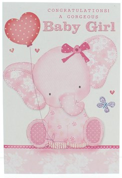 Birth Of Baby Girl Card - Pink Elephant with Balloon & Glitter  7.75 x 5.25""