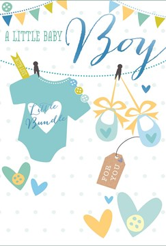 "Birth Of Baby Boy Greetings Card - Blue Baby Grow, Shoes & Hearts 7.75"" x 5.25"""