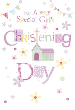 """Baby Girl Christening Day Greetings Card - Church Bunting & Flowers 7.75 x 5.25"""""""