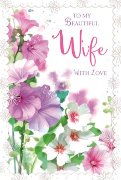 """Wife Birthday Card - Lilac Pink & White Flowers with Glitter 7.75"""" x 5.25"""""""