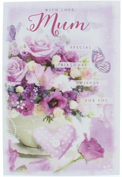 """Mum Birthday Card - Lilac Flowers and Butterflies with Glitter 7.75""""x5.25"""""""