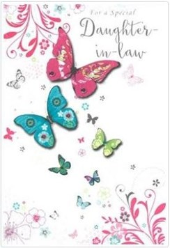 """Daughter-in-Law Birthday Card - Bright Butterflies with Silver Foil 7.75x5.25"""""""