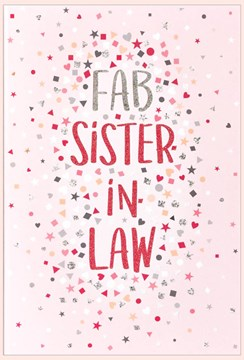 Sister-in-Law Birthday Card - Pink with Tiny Hearts and Glitter 7.75x5.25""