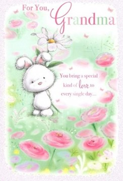 "Grandma Birthday Card - White Rabbit Daisy & Pink Flowers Glitter 7.75x5.25"""