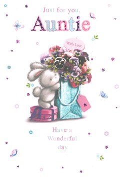 """Auntie Birthday Card - White Rabbit, Pink Flowers & Tiny Butterfly 7.75"""" x 5.25"""""""