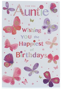 Auntie Birthday Card - Pink and Lilac Butterflies with Glitter 7.75x5.25""
