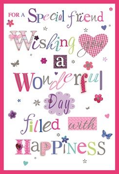 "Special Friend Birthday Card - Multicoloured Writing & Silver Foil 7.75"" x 5.25"""