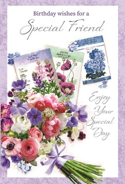 """Special Friend Birthday Card -Pink and Lilac Flowers with Silver Foil 7.75x5.25"""""""